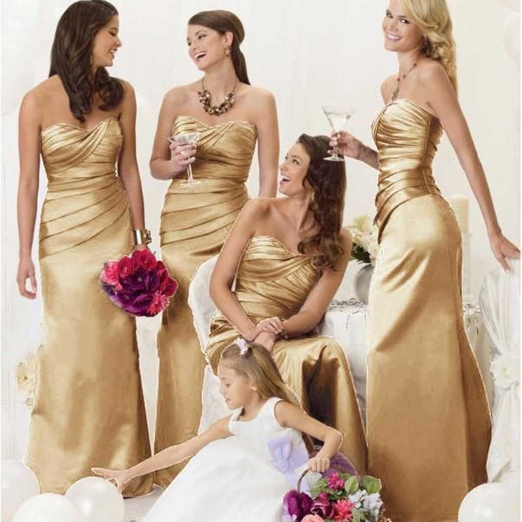 Women Elegant Sweet Heart Gold Satin Mermaid Long Wedding Party Dresses For Mother Of Bride: Gold Sweet Mermaid Wedding Dresses At Reisefeber.org