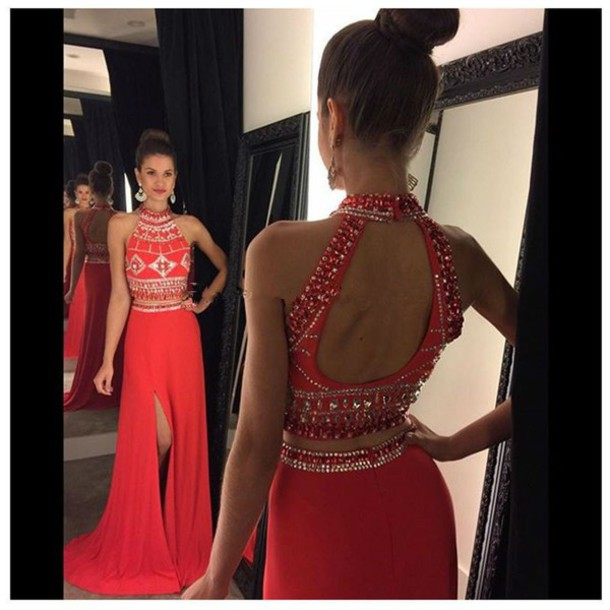 e35ee660ba Red High Neck Two Open Back Piece Prom Dress With Beaded Crop Top