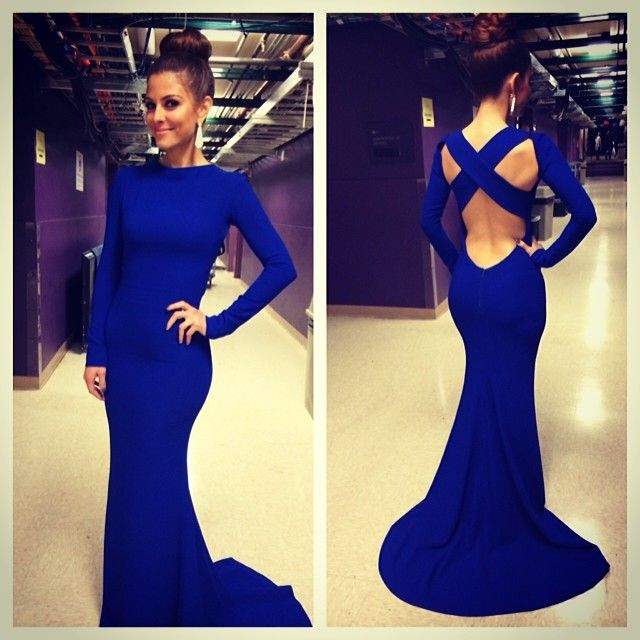 Top Selling Long Sleeves Open Back Royal Blue Mermaid Prom Dress High Neck  Trumpet Long Sexy Prom Dresses Sweep Train Evening Dress Prom Graduation  Dress ... 3fbef4a1656d