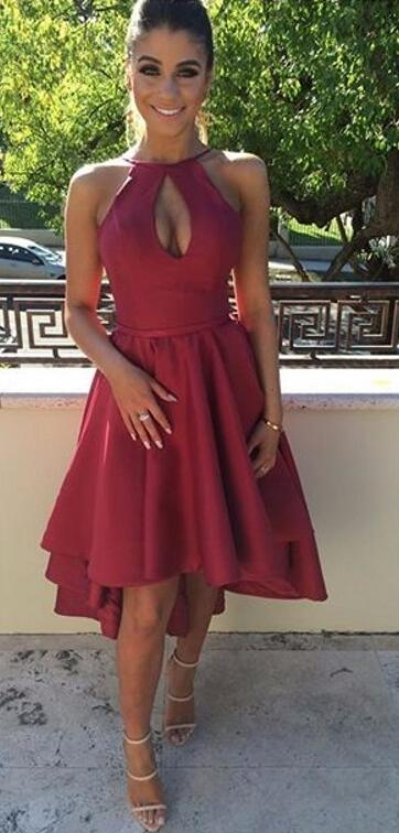 7419c1471a8 Burgundy Halter Homecoming Dress