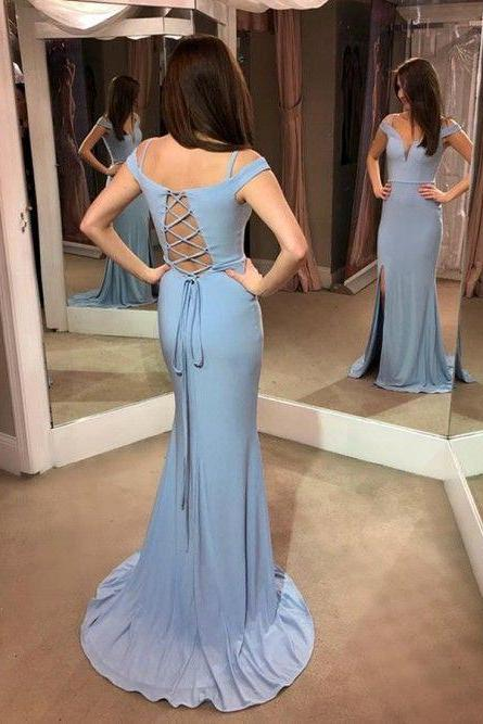 Elegant Fitted Formal Evening Gown Off The Shoulder Long Prom Dress With Side Slit