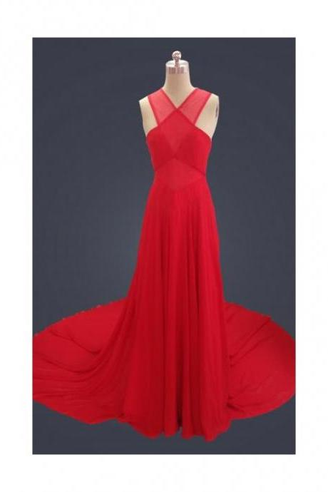 Red Chiffon Sweep Train Halter Prom Dress With Keyhole Back
