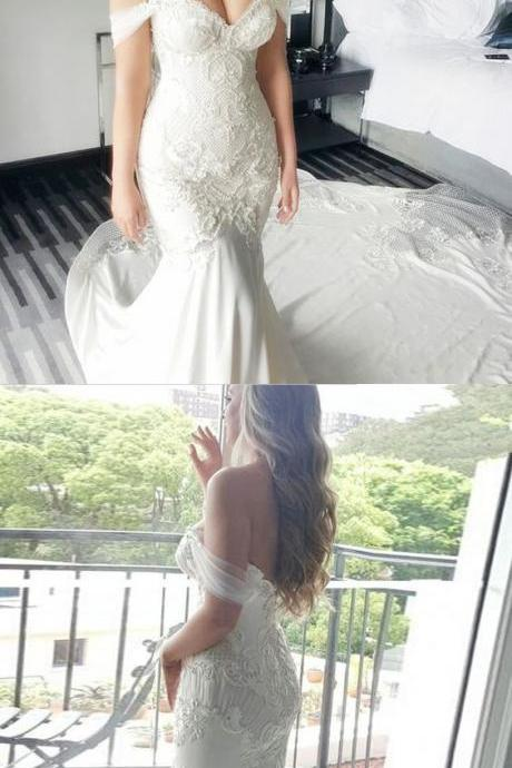 Mermaid Wedding Dresses,Off-the-Shoulder Wedding Dresses,White Wedding Dresses,Lace Wedding Dresses,Wedding Dresses 2017,Long Wedding Dresses,Cheap Wedding Dresses,Plus Size Wedding Dresses