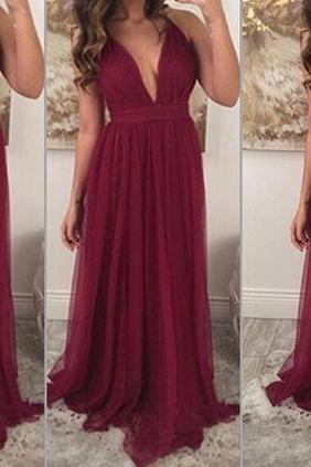 Burgundy Prom Dresses,V-neckline Long Prom Dress,Sexy Evening Dresses,Women Formal Gowns