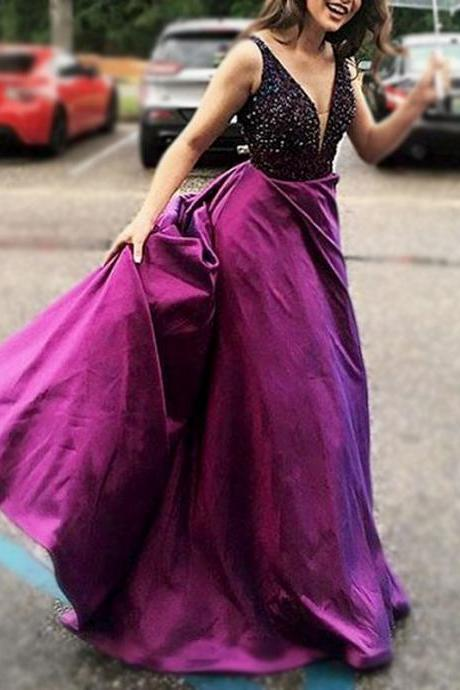 V-neck Long Satin Prom Dresses Crystals Floor Length Women Party Dresses